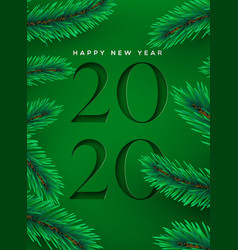 new year 2020 cutout green pine tree greeting card vector image