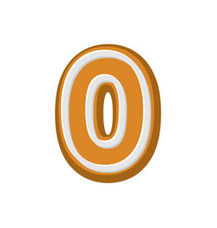 number 0 gingerbread font peppermint honey cake vector image