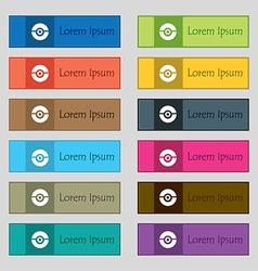 Pokeball icon sign Set of twelve rectangular vector