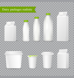 Realistic dairy packaging transparent set vector