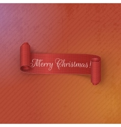Realistic scroll red Christmas Banner vector image