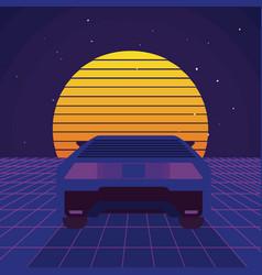Retro sci fi background scenery vector