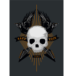 rock music poster with skull birds and guitar vector image