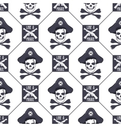 seamless pattern with skulls old pistols vector image