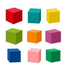 Set blank colorful toy bricks vector