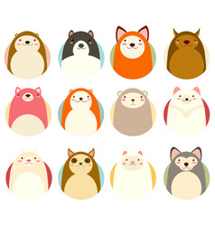 set of avatars icons with cute animals vector image