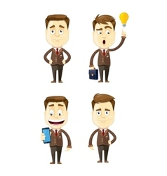 Set of businessman in different poses manager vector