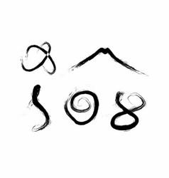 Set paint brush ink art japan calligraphy logo vector