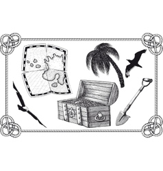 set pirate treasure vector image