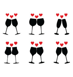 set wine glasses and heart icons vector image
