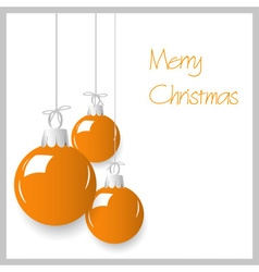 shiny orange color christmas decoration baubles vector image