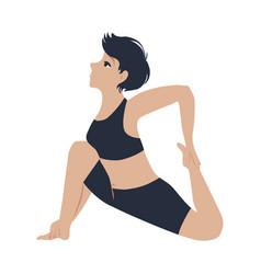 slim girl training yoga vector image