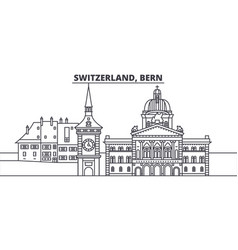 Switzerland bern line skyline vector