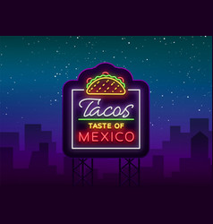 taco logo neon sign on mexican food tacos vector image