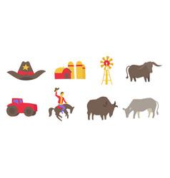 usa ranch icons set agriculture farm cowboy vector image
