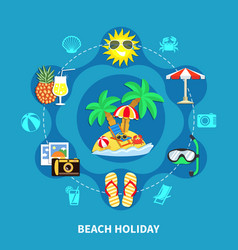 Vacation icons round composition vector