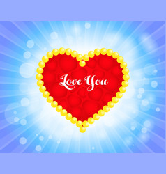 valentines day card with heart love you vector image