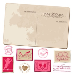 Vintage postcard and postage stamps - for wedding vector
