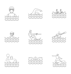 Water stay icons set outline style vector