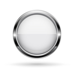 White button with chrome frame round glass shiny vector