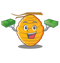 With money bee hive character cartoon vector