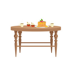 Wooden table with two cups of tea cupcakes and vector
