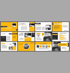 Yellow presentation templates and infographics vector