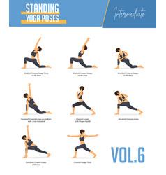 standing yoga poses set ii royalty free vector image