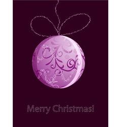 christmas card with shiny pink ball vector image