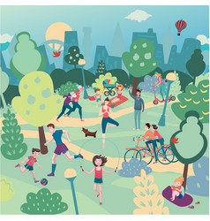 family holiday on nature aerialview of city park vector image vector image