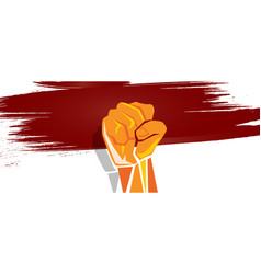 indonesia independence hand fist in with flag vector image