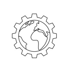 planet inside the gear line icon vector image vector image
