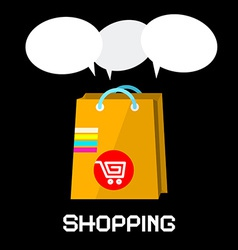 Shopping Bag with Cart and Empty Speech Bubbles on vector image