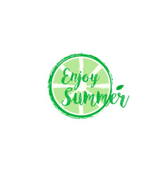 summer card with hand drawn brush lettering vector image vector image