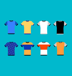 types of jerseys set simple icons of main jerseys vector image vector image