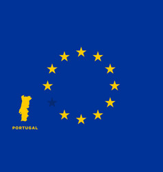 Eu flag with portugal country european union vector