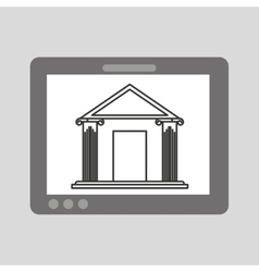Hand holding tablet bank building vector