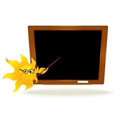 Background with cartoon sun pointing on school vector image