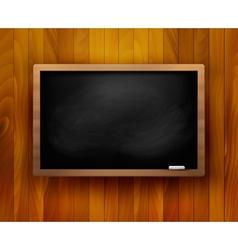Blackboard on wooden background vector image