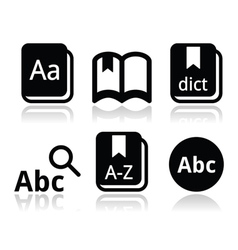 Dictionary book icons set vector image vector image