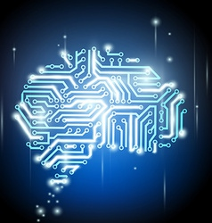 human brain as a computer chip vector image vector image