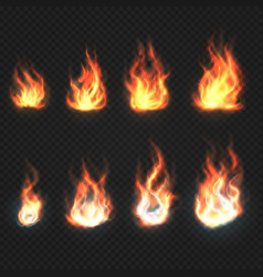 isolated fire flames power and energy symbols vector image vector image