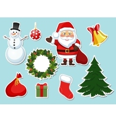 sticker Christmas set vector image vector image