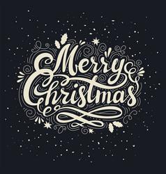 vintage merry christmas inscription retro style vector image