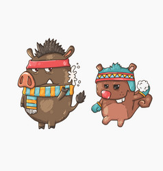 boar and squirrel playing snowballs vector image