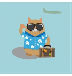 Cat tourist wearing sunglasses and a shirt with vector image