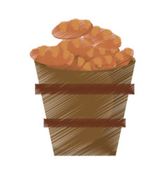 drawing wooden pot bread full miracle vector image vector image