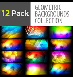 geometric backgrounds collection vector image