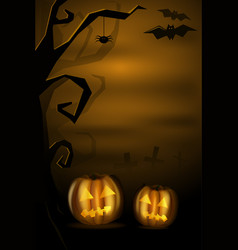 halloween landscape with pumkins and cemetery vector image