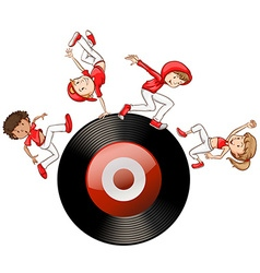Hip hop people on record disc vector image